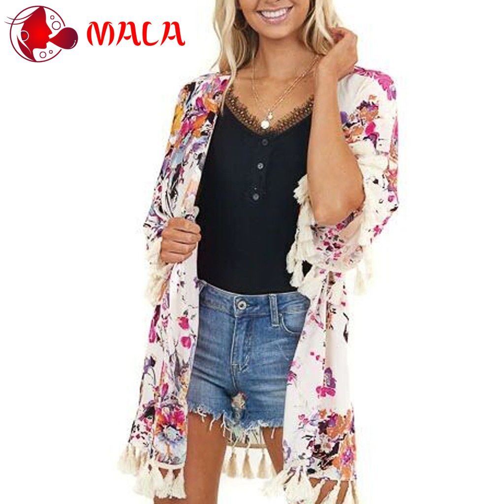 Eoeth Womens Middle Sleeve Plaid Printing Cardigan Smock Blouse Easy Tops Lightweight Shawl Open Front Casual Outwear