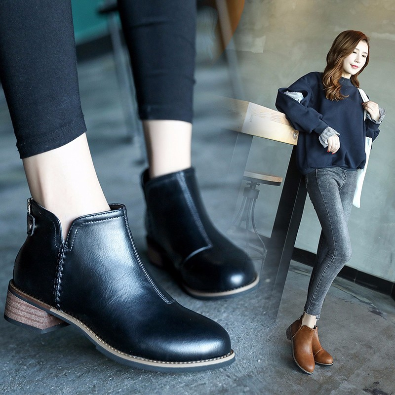 c131d79cfb1 New girl boots comfortable round head low heel boots