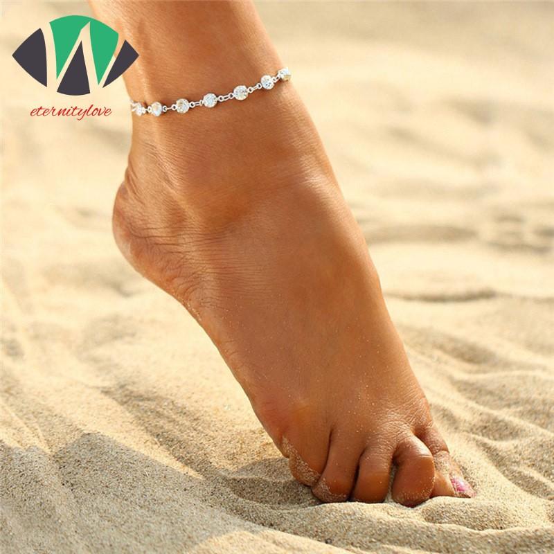 1PCS Women Lady Girl Double-deck Little Star Anklet Bracelet Ankle Chain-Foot Sandal Beach Wedding Jewelry Foot Decoration Accessories Silver