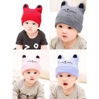 389bf513 Newborn Baby Girls Boys Warm Winter Cat Beanie Cap Hats | Shopee ...