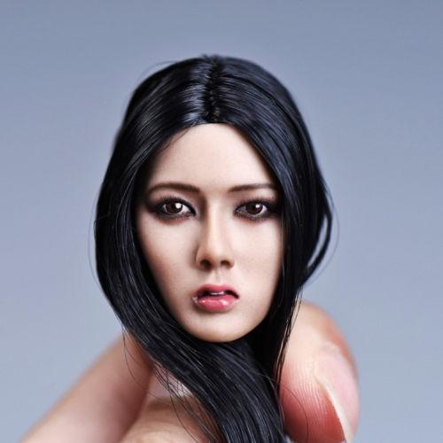 "Female Girl Doll 1//6 Black Long Hair Pale Head Sculpt Model Toy F 12/"" HT PH Body"