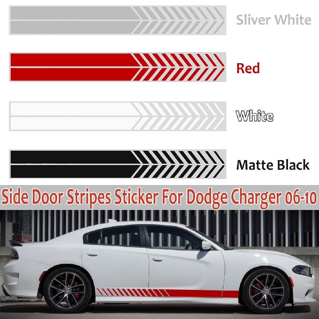 2Pcs Car Decal Sticker Vinyl Side Stripe For Dodge Charger