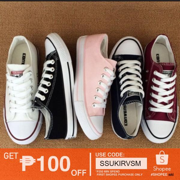 Converse low cut shoes for women #800-1 (black/white/maroon)
