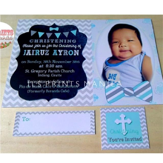 Little Man Theme Christening Baptism Invitation Card Set