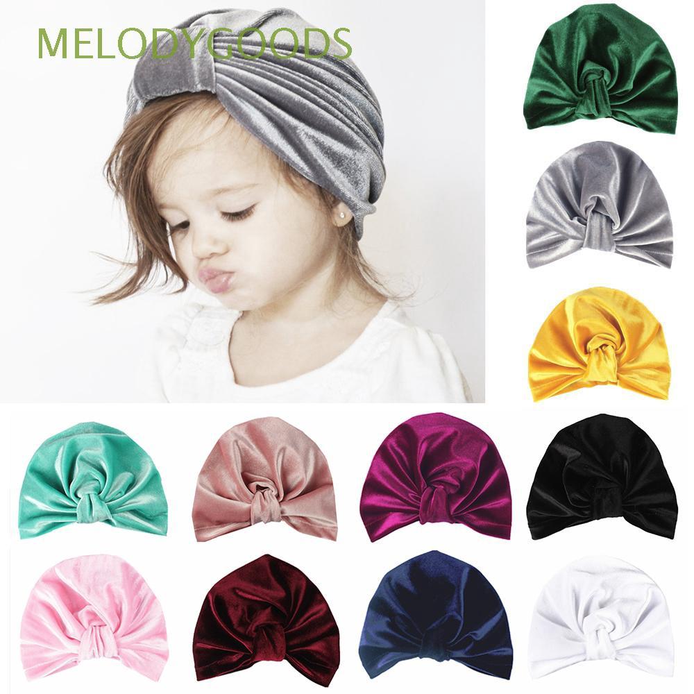 Newborn Toddler Kids Baby Boys Girls Indian Turban Flower Velvet Beanie Hat Cap
