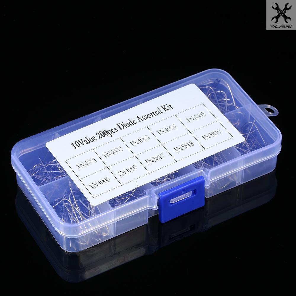 200pcs 10 Values Diode Assorted Kit Box 20pcs Each Value 1N4001 1N4002 1N4003 1N