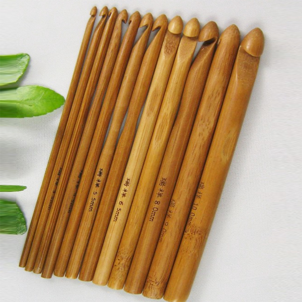 Crochet Hooks Bamboo Needles 3-10mm 12PCS Set Yarn Knitting Hook Wood