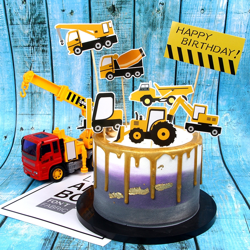 Terrific Construction Truck Excavator Signpost Barrier Happy Birthday Cake Birthday Cards Printable Benkemecafe Filternl