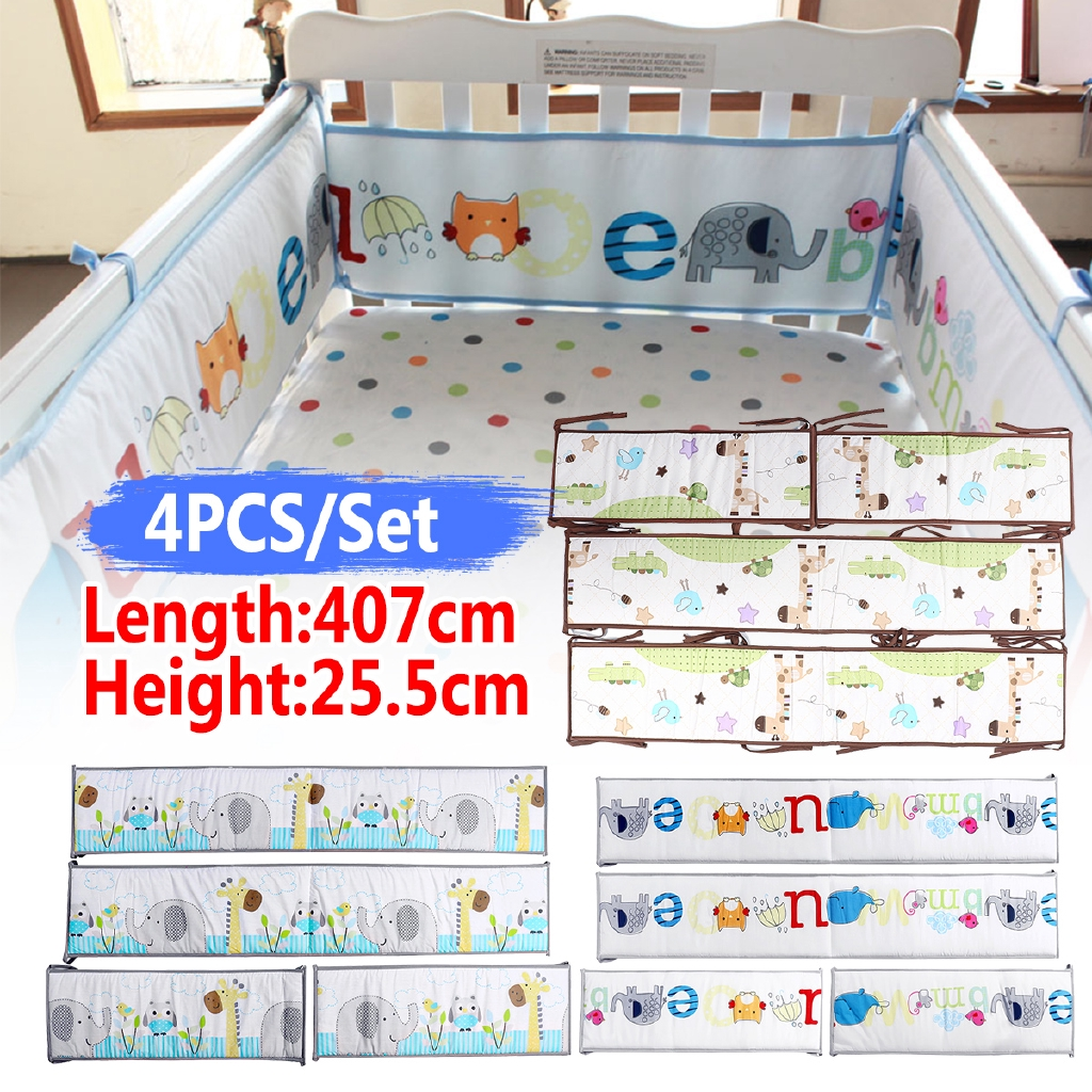 6Pcs Baby Infant Cot Crib Bumper Safety Protector Toddler Nursery Bedding Pad
