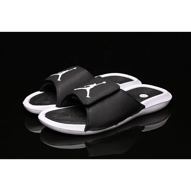 huge discount 8aacb 5e30a Air Jordan Hydro 6 sandals Fingerprint Slippers Black Gold   Shopee  Philippines