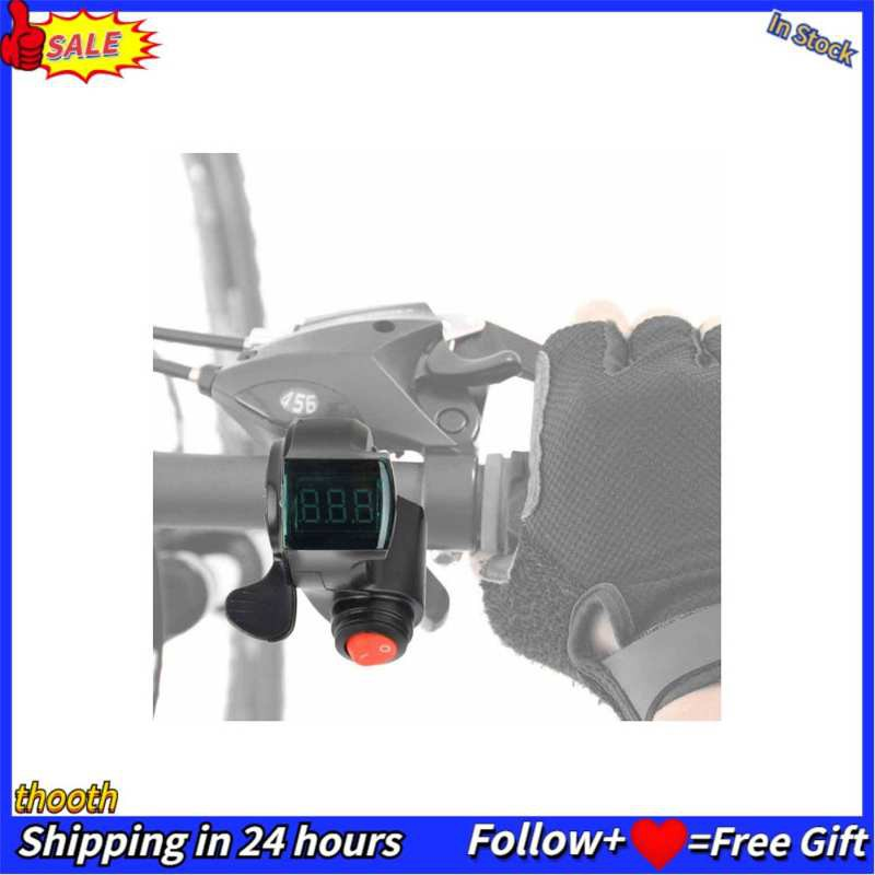 Electric Bike Thumb Throttle Shifter w// LCD Battery Voltage Display Power Switch