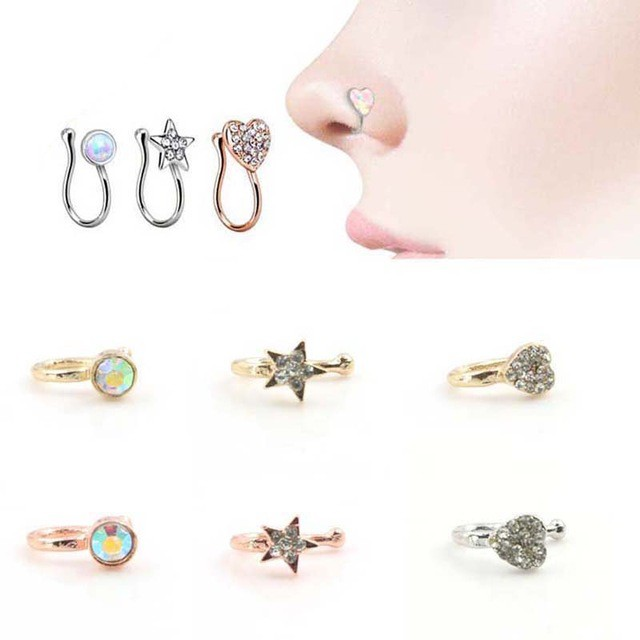 Heart Nose Clip On Hoop Fake Non Piercing Nose Ring Shopee