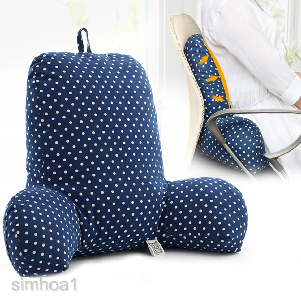 Soft Velvet Back Support Pillows with Arms Bed Rest Pillow Lounger Cushion