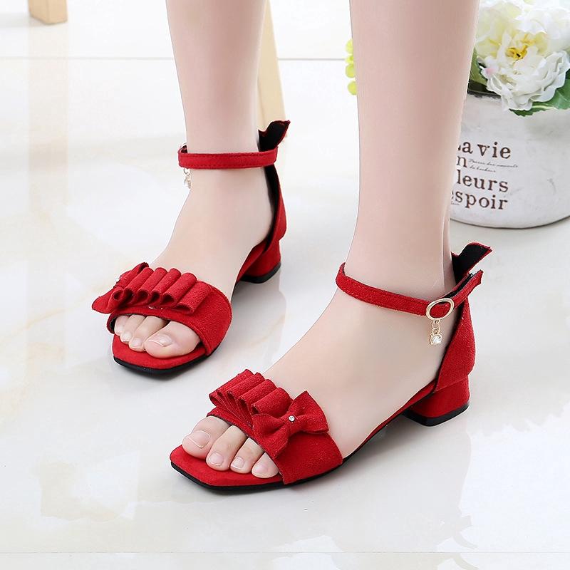 Children Princess Sandals for Girl Kids Girls Suede Bow Sandals Low Heels Sandals  Girls Sandals | Shopee Philippines