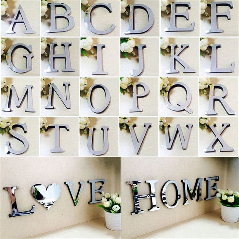 26 Letters Acrylic 3D Mirror Wall Sticker Decals Home Decor Wall Art Mural DIY