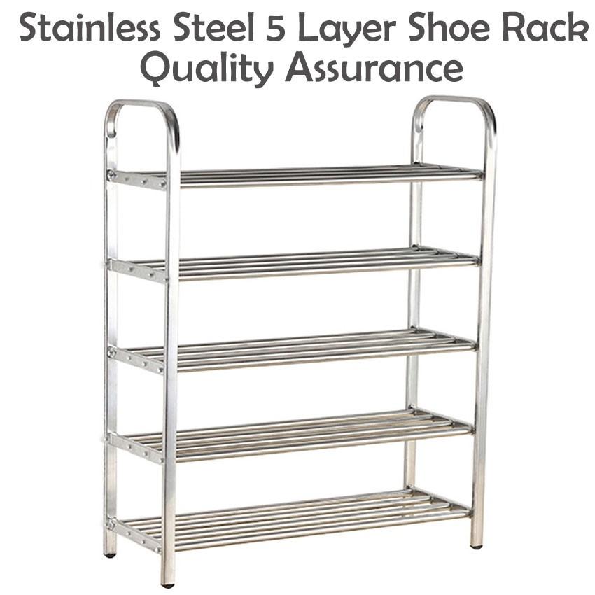 4c66373da C-506 Quality Assurance 5 Layer Stainless Steel Shoe Rack