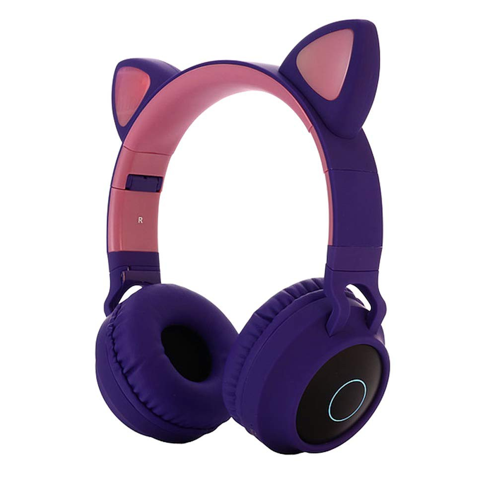 Cute Cat Ear Bluetooth 5 0 Headphones Foldable On Ear Stereo Wireless Headset With Led Light Support Fm Radio Tf Card Aux In For Smartphones Pc Tablet Shopee Philippines