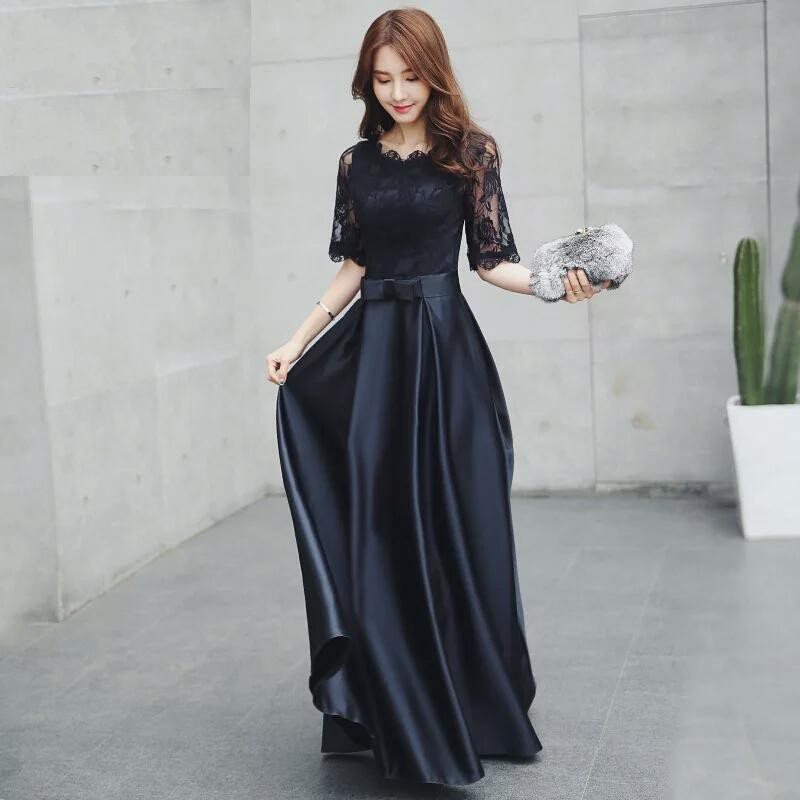 Long Half Sleeve Black Lace Silk Formal Work Wedding Maxi Dinner Prom Dress Gown Shopee Philippines,Wedding Dresses For Rent