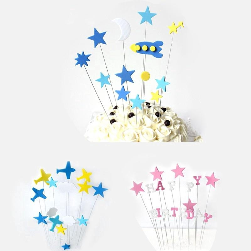 1Set Cartoon Cake Topper Star Decor Flag Kids Birthday