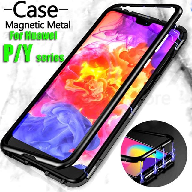 Huawei P30 P20 Pro Lite Y5 Y9 2019 Y7 Y6 Pro Prime 2019 Phone Case Luxury  Magnetic Metal Glass Cover
