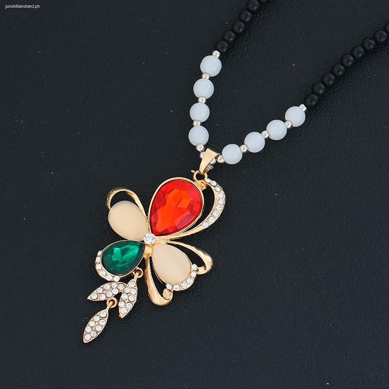 EG/_ Luxury Crystal Bowknot Pendant Long Necklace Rhinestone Butterfly Sweater Ch
