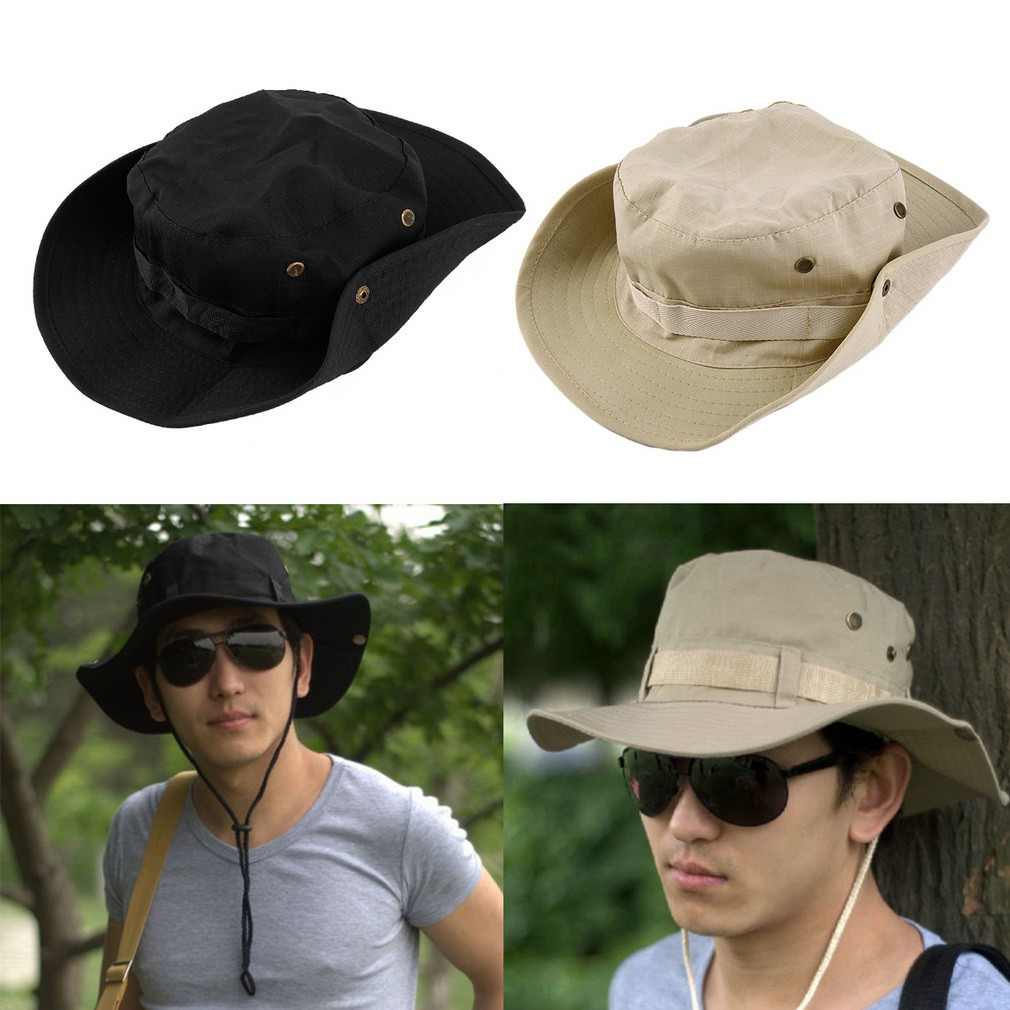 89c8b80a0ca Mens Army Sun Shade Summer Wide Brim Bucket Cargo Floppy Hat ...
