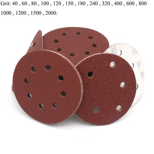 "10 X 5/"" 8 Hole 80 Grit Sand Disc Paper Random Orbit Hook and Loop Sander"
