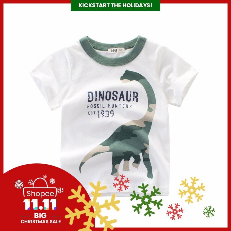 32965ad48931 ReadyStock Boys T-shirt Dinosaur Head Kids Children Tops Short Sleeve  Cotton | Shopee Philippines