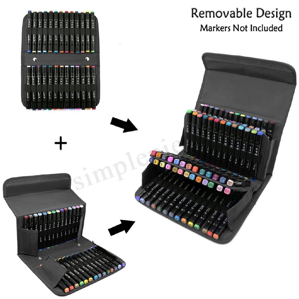 Large Art Markers Pens Bag 120 Slots Multi-Layer Storage Portable Carry Case New