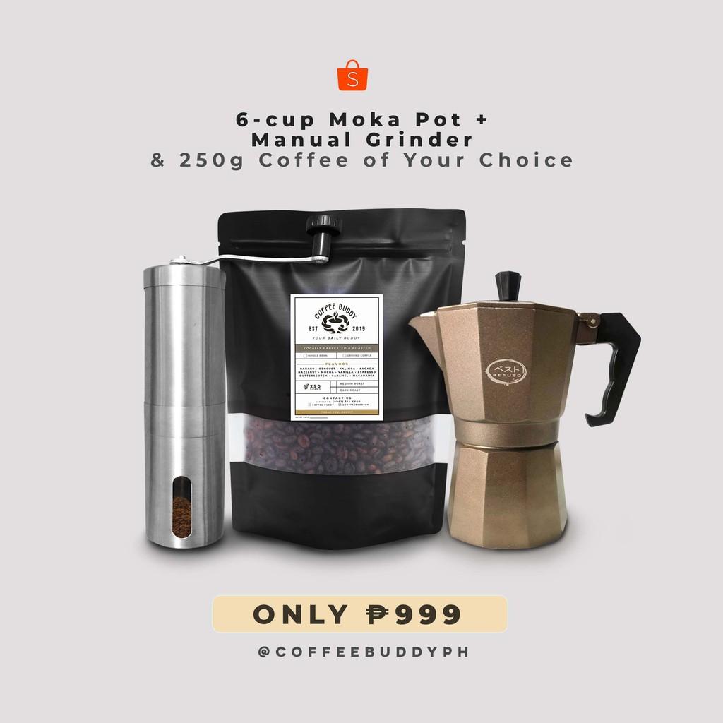 6-Cup Moka Pot, Grinder and 250g Coffee Bundle | Coffee ...
