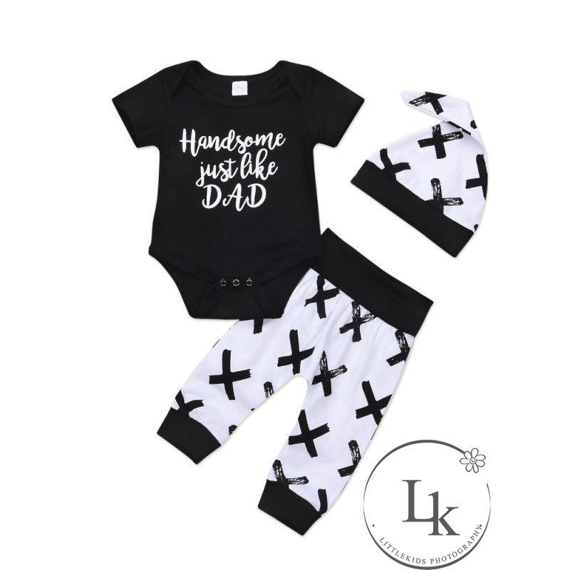 cb053cdbc .DI-US Newborn Baby Boy Cotton Top Bodysuit Romper Pants