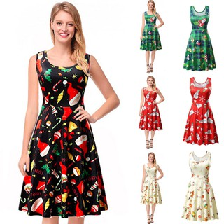 Christmas Ball Gowns Plus Size.Women Christmas Print Floral Sleeveless Vintage Tea Ball Gown Dress Plus Size