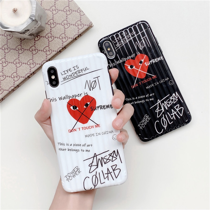 Luxury Brand Comme Des Garcons Cdg Case For Iphone X Xs Max Xr 6 6s 7 8 Plus Love Heart Soft Cover