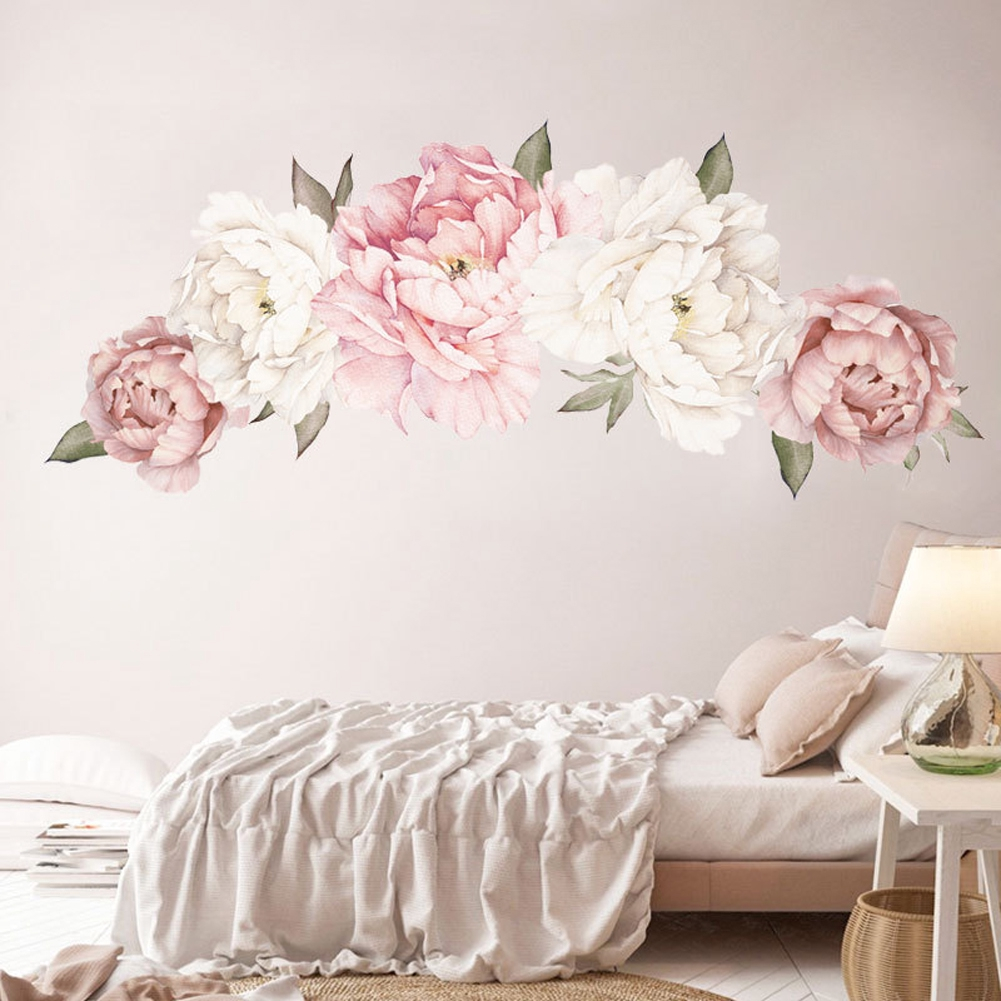 Peony Flower Diy Bedroom Art Home Decor Living Room Modern Pvc Wall Sticker Shopee Philippines