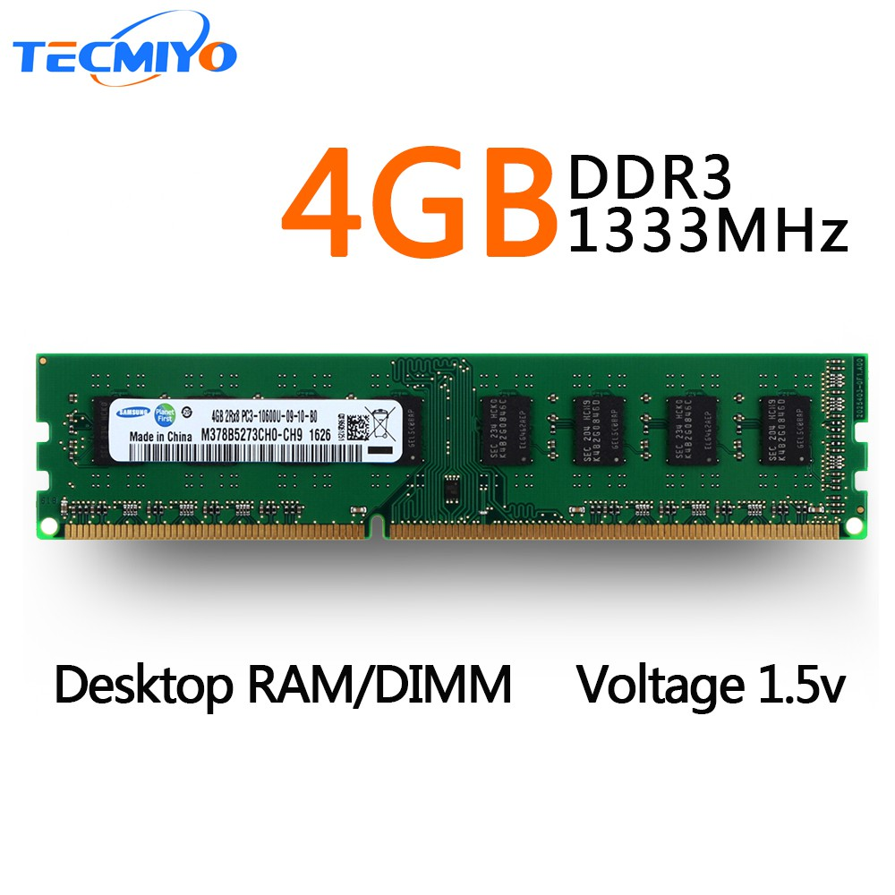 Crucial 4GB PC3-10600U 2Rx8 DDR3 1333Mhz 240Pin CL9 1.5V DIMM RAM Desktop Memory