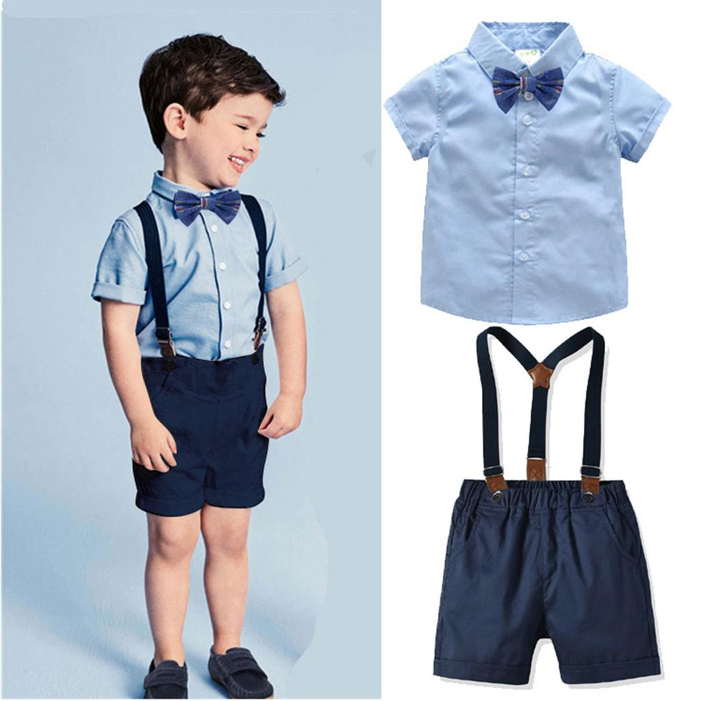 Baby Boys Clothing Sets Fashion Casual Suit Short Sleeve Shirt and Shorts with Suspender