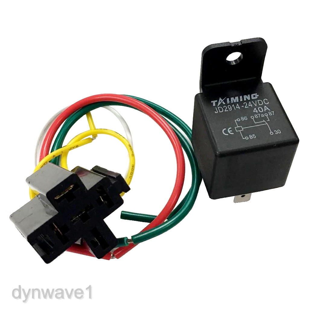 24V Automotive Changeover Relay W//Bracket 40A 5-Pin SPDT with Socket Auto