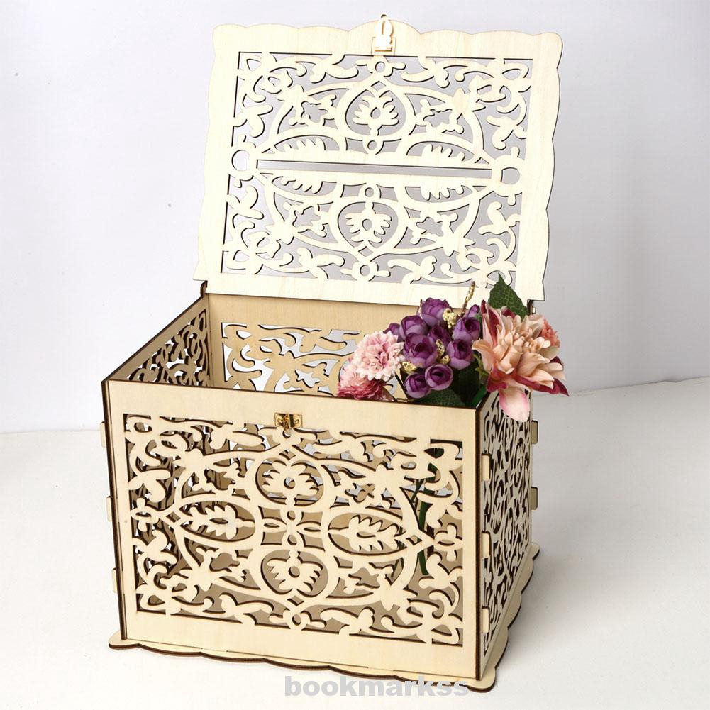 Decoration Gift Party With Lock Wooden Wedding Card Box Shopee