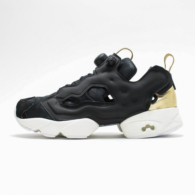 0841b707716 Reebok Insta pump Fury PM Black Gold Sneaker Shoes V62778