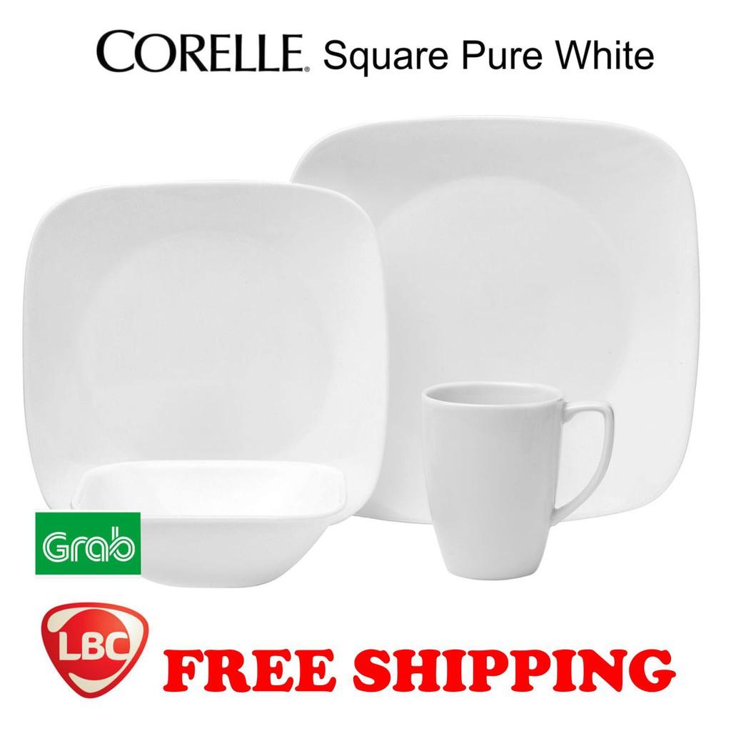 On Hand Brand New Corelle square pure white 20PC dinnerware set ...