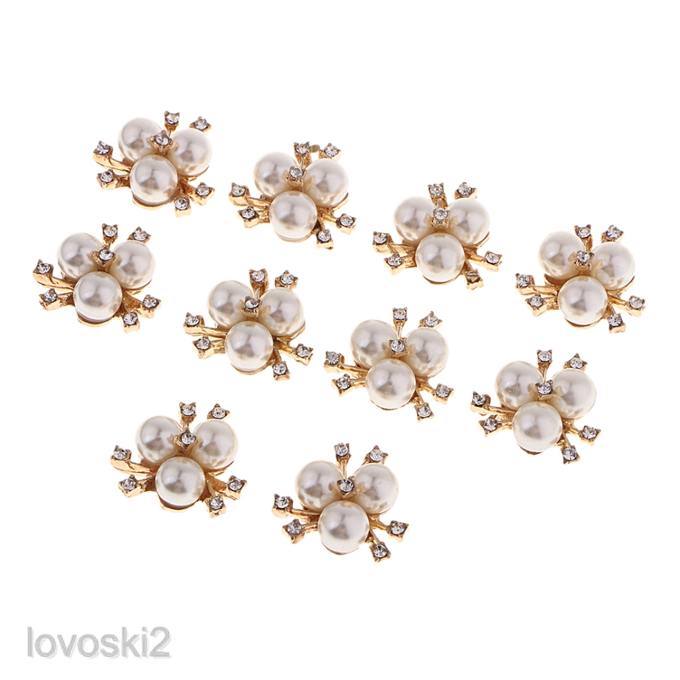10pcs Crystal Pearl Flower Embellishments Buttons for Scrapbooking Craft DIY