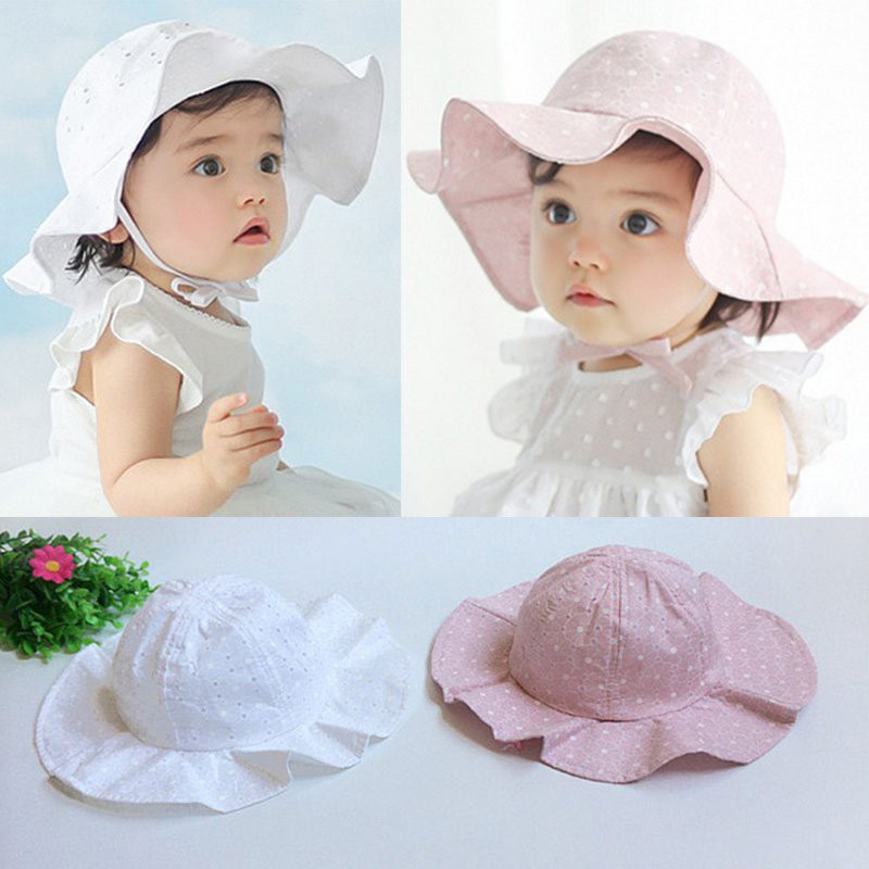 8e018f2d New Cute Kid Baby Toddler Girl Cotton Flower Hat Polka Dot Summer Bucket Sun  Cap   Shopee Philippines