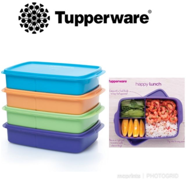 Sectioned Tupperware: Original Tupperware Divided Lunch Box 550ml And 1L