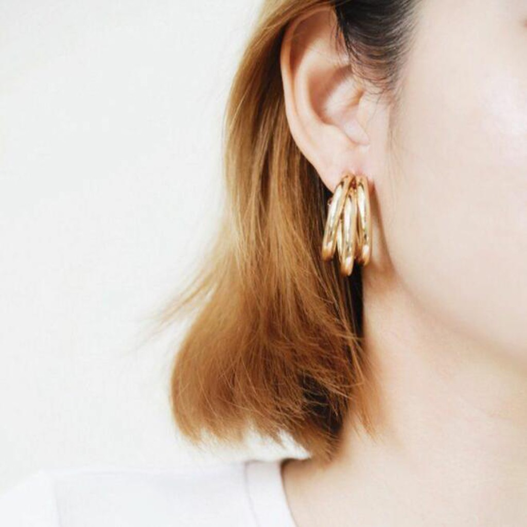 Jewelry Ladies Fashion Elegant Silver Plated Crystal Earings for Women,Women Retro Geometric Semicircle Hollow Earrings Simple C Word Earrings