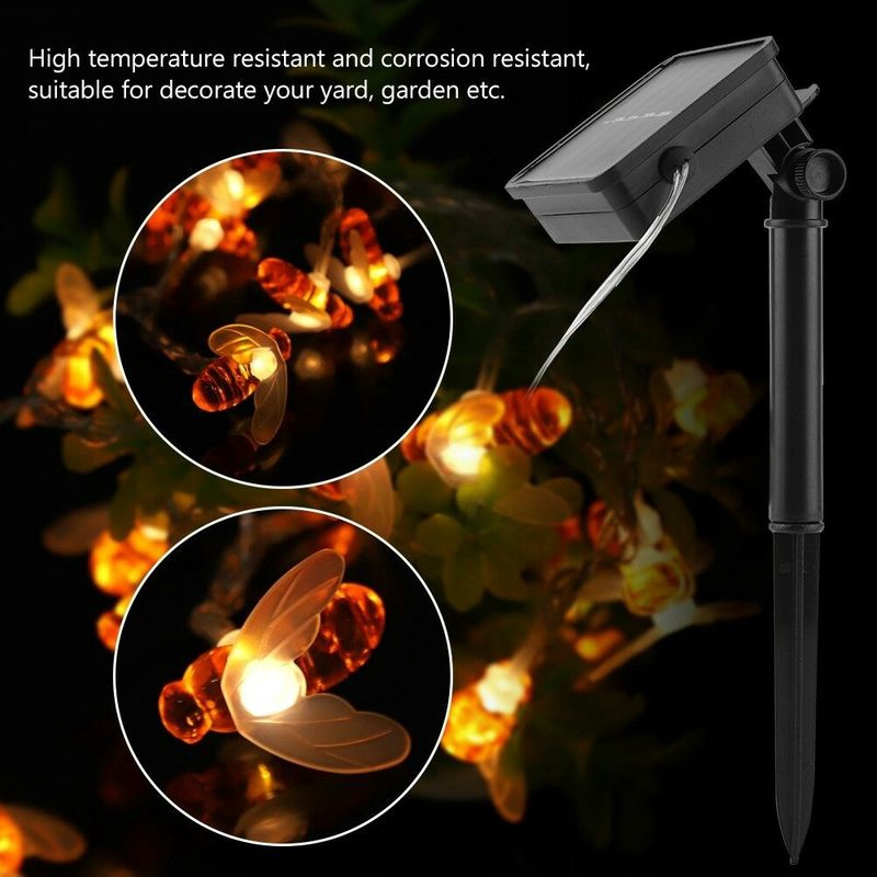 Solar 20//30//50 LED Honey Bee String Fairy Lights Xmas Hanging Garden Yard Lamp
