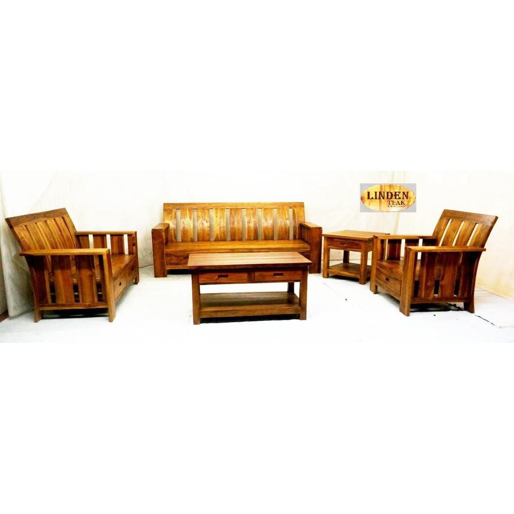 Solid Teak Wood Minimalis Sofa Set