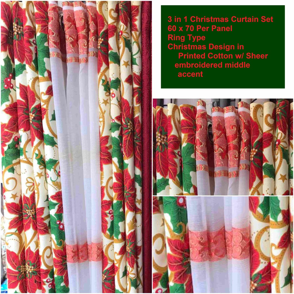 Window Curtain Sets Assorted Holiday Designs Shopee Philippines