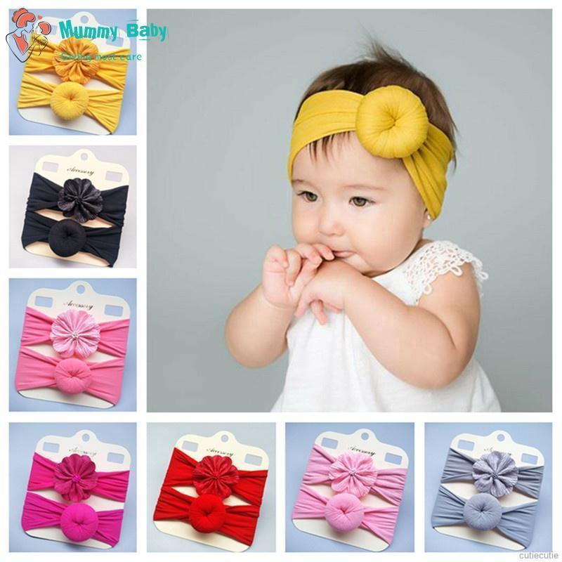 2 Pcs//set Fashion Baby Donut Hairband Newborn Elastic Nylon Soft Flower Headband