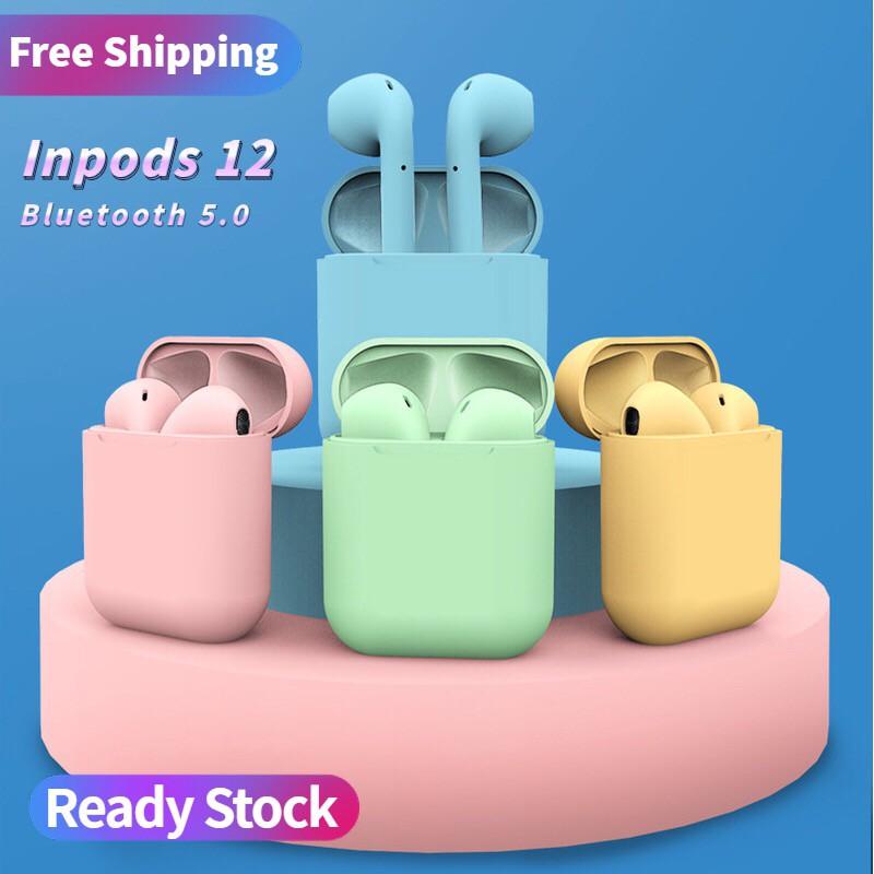 Inpods 12 Bluetooth Headset Earphone 5.0 Macaron Wireless Sport Earbuds with Mic TWS i12