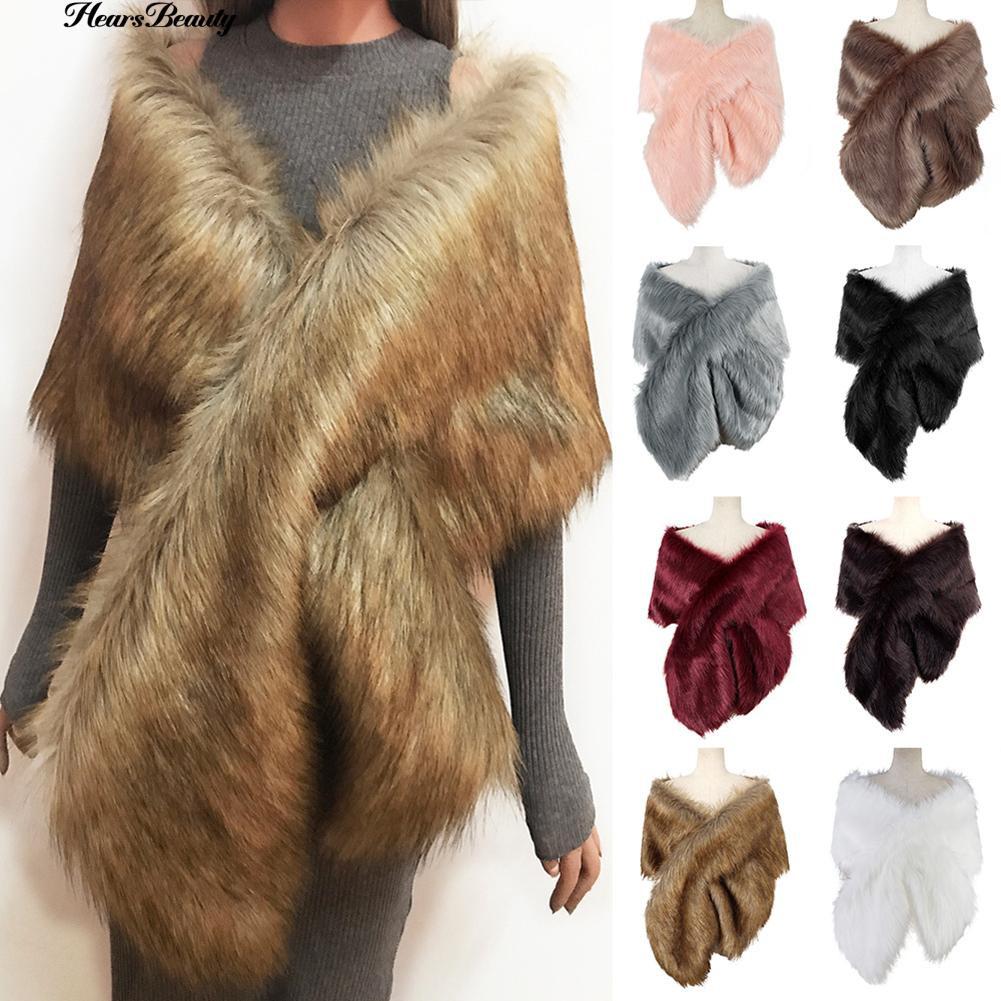 Elegant Faux Fur Shawl Stole Wrap Shrug Women Evening Coat Wedding Dress Scarves
